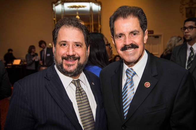 DC Sen. Paul Strauss with Rep. Jose Serrano during the pre-ceremony reception. Photo credit: Travis Vaughn.
