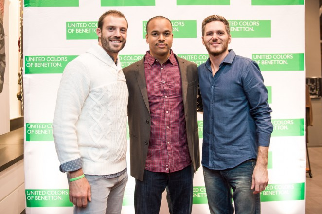 Dressed head-to-toe in looks from the A/W collection, #BeBenetton honorees Redskin Reed Doughty, BET EVP & CFO Michael Pickrum and Top Chef's Spike Mendelsohn. Photo credit: Joy Asico.