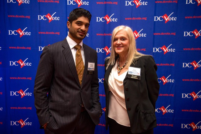 DC Vote board members and event co-chairs Vinoda Basnayake and Trish Vrandenburg. Photo credit: Travis Vaughn.
