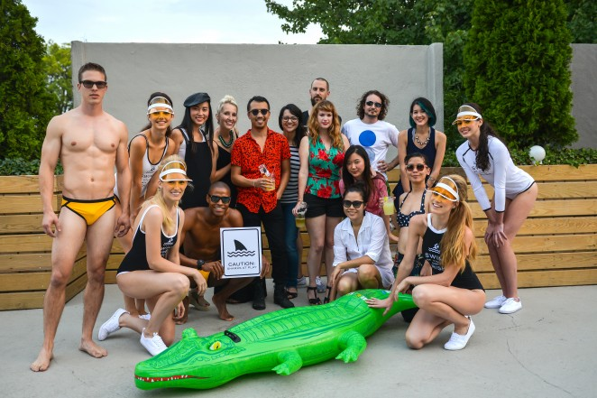 Design Army Team poses with T.H.E. models in Swim At Your Own Risk collection