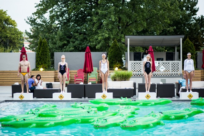 T.H.E. models pose on Swim At Your Own Risk platforms