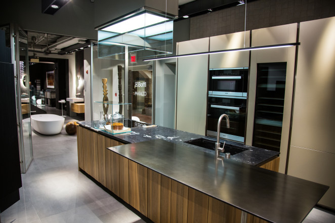 The remodeled Boffi Georgetown showroom featuring the new Xila kitchen among the Boffi kitchens, baths and wardrobe systems, as well as Maxalto furnishings.