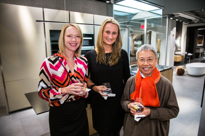 Miele USA's Senior Territory Manager Kelly Pappano, Boffi Georgetown Showroom Manager Julia Walter, and Boffi USA-President Lilian Leong