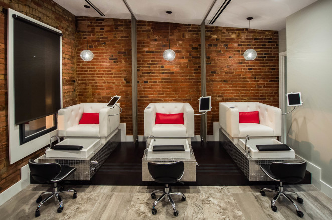 iPads embedded at each of the three pedicure stations at Luigi Parasmo Salon and Spa by Joy Asico